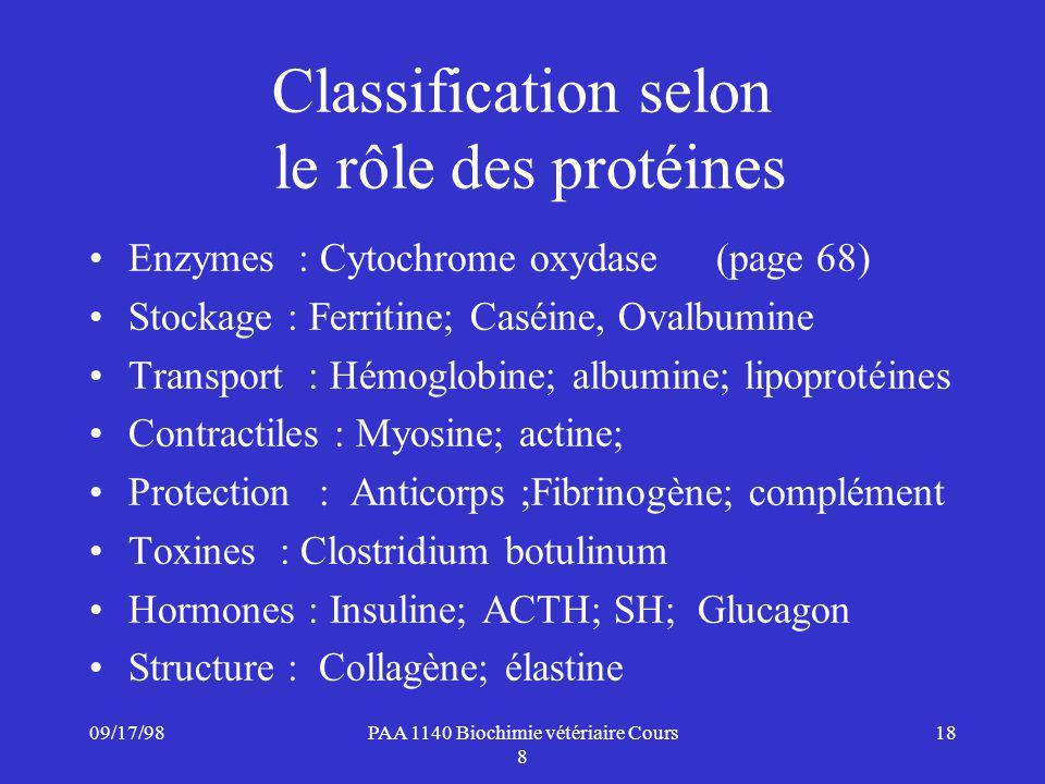 Classification selon le rôle des protéines