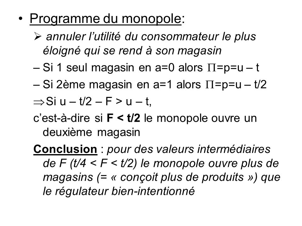 Programme du monopole: