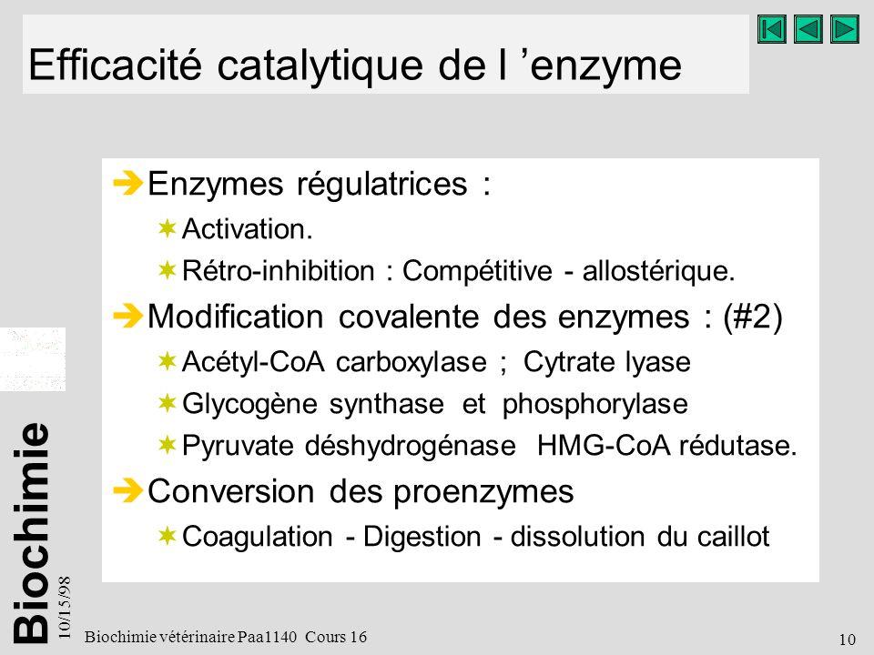 Efficacité catalytique de l 'enzyme