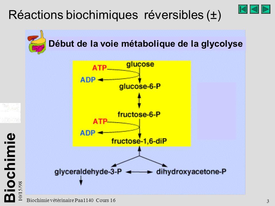 Réactions biochimiques réversibles (±)