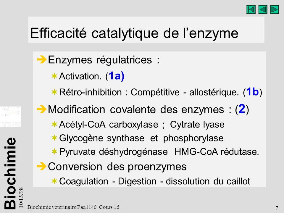 Efficacité catalytique de l'enzyme