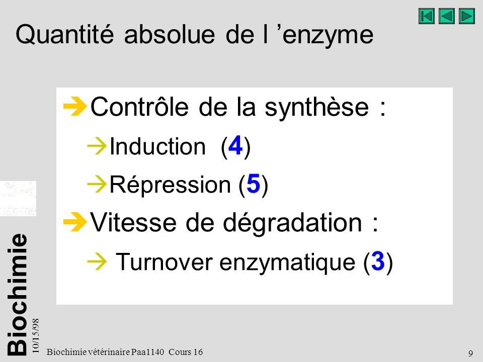 Quantité absolue de l 'enzyme