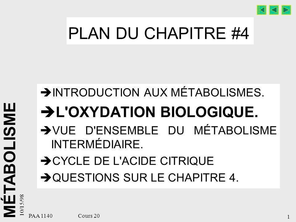 PLAN DU CHAPITRE #4 L OXYDATION BIOLOGIQUE.