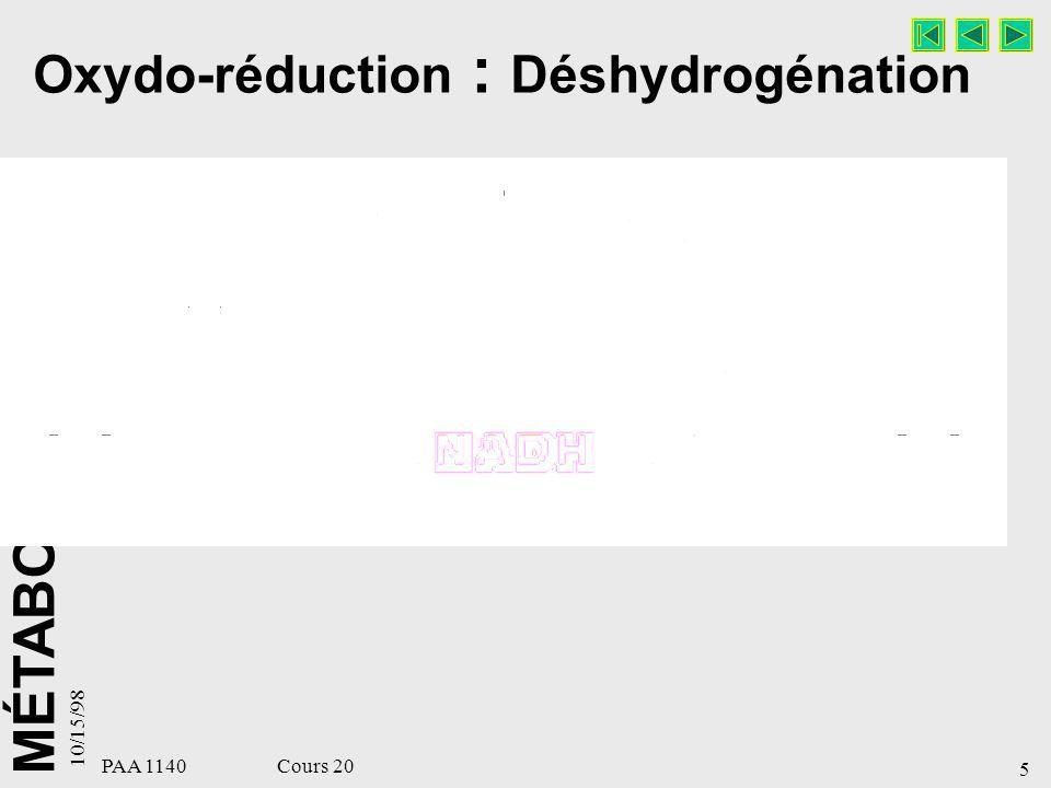 Oxydo-réduction : Déshydrogénation