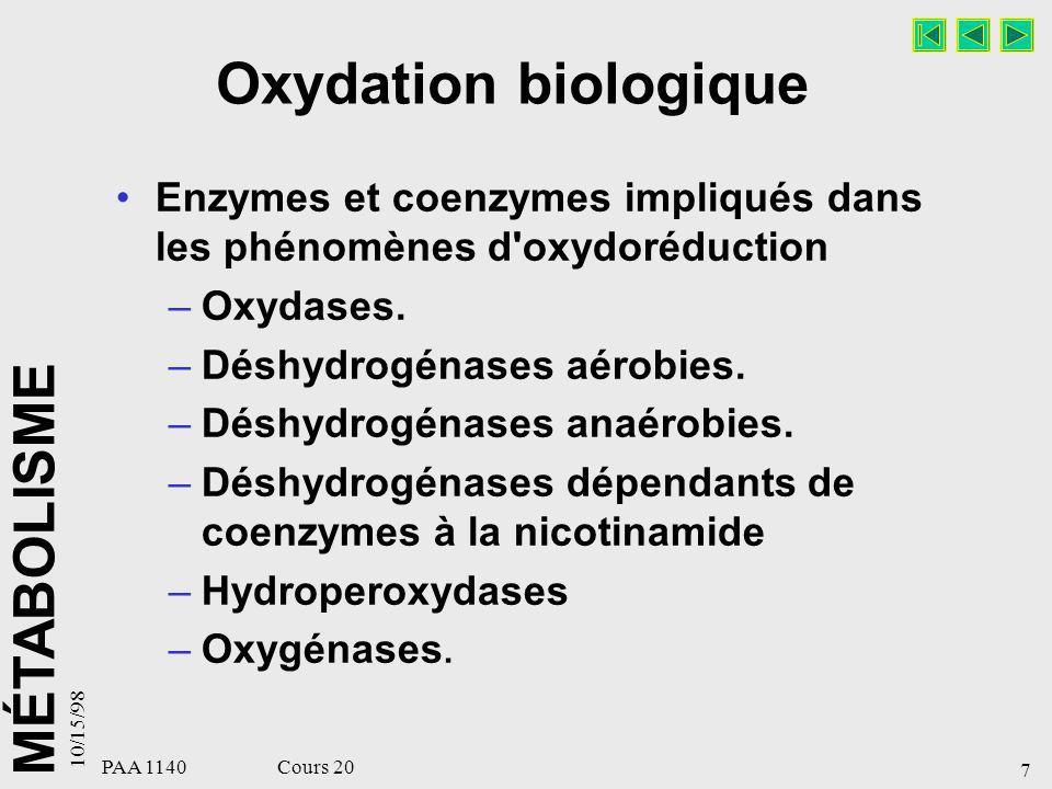 Oxydation biologique Enzymes et coenzymes impliqués dans les phénomènes d oxydoréduction. Oxydases.