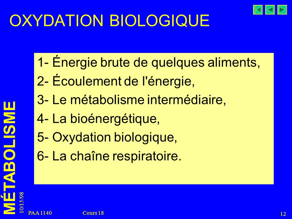 OXYDATION BIOLOGIQUE 1- Énergie brute de quelques aliments,
