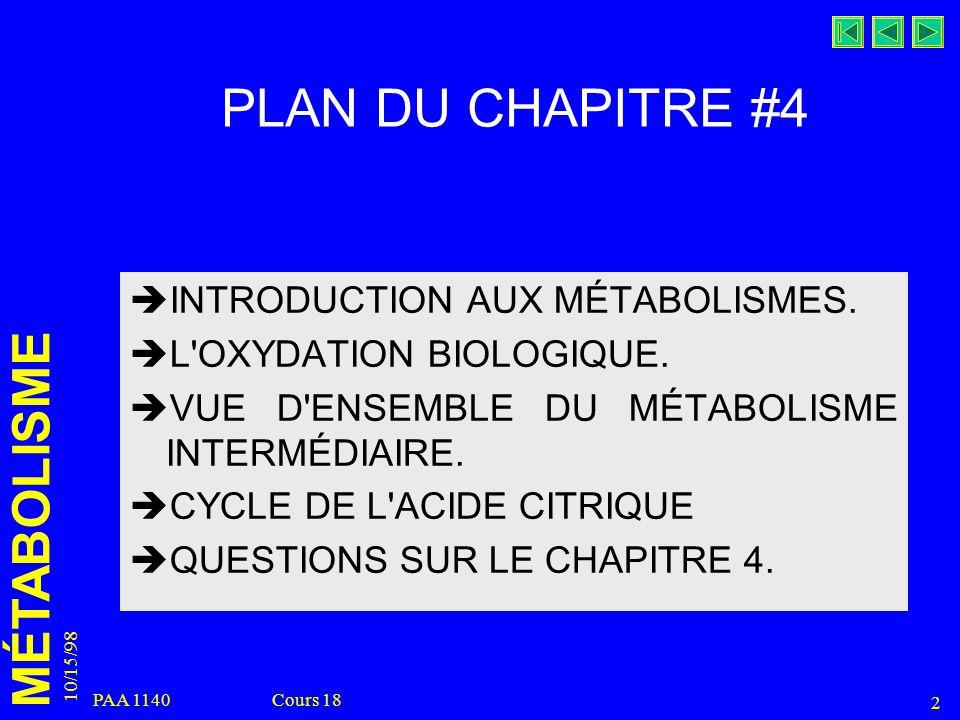 PLAN DU CHAPITRE #4 INTRODUCTION AUX MÉTABOLISMES.