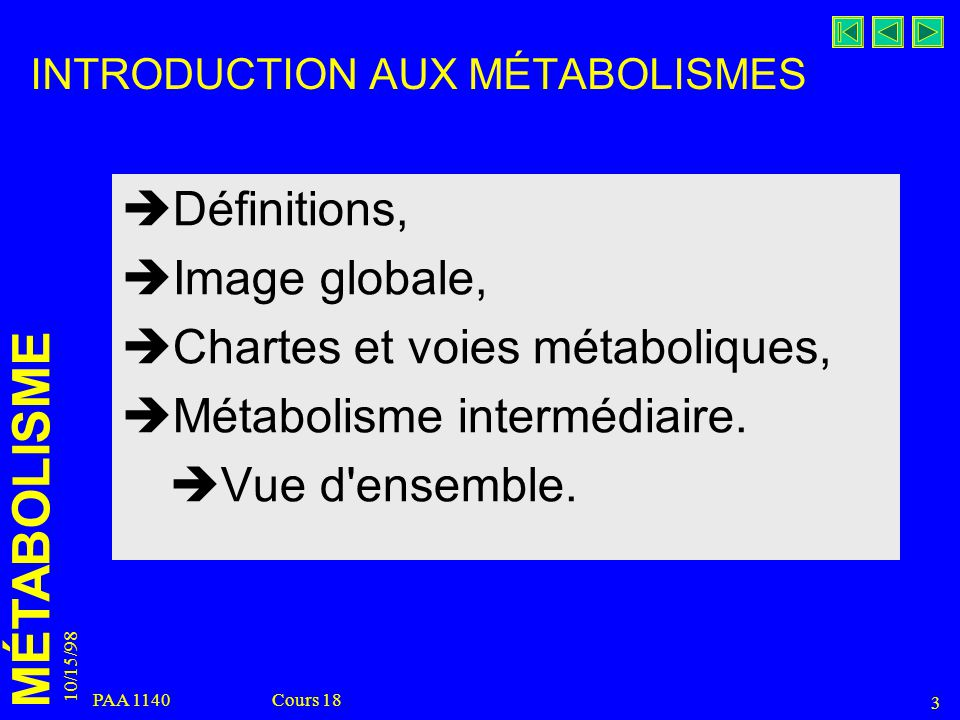 INTRODUCTION AUX MÉTABOLISMES