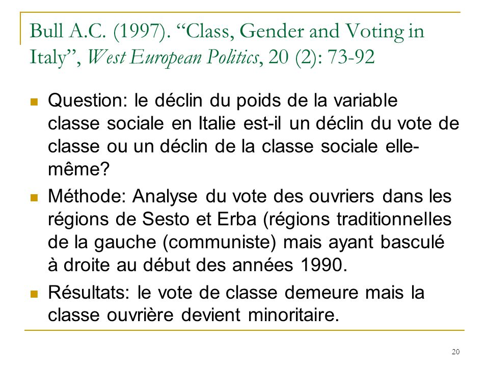 Bull A.C. (1997). Class, Gender and Voting in Italy , West European Politics, 20 (2): 73-92