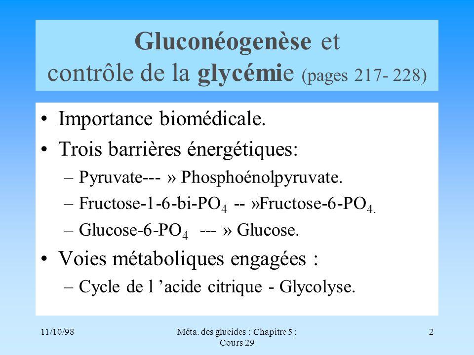 Gluconéogenèse et contrôle de la glycémie (pages 217- 228)