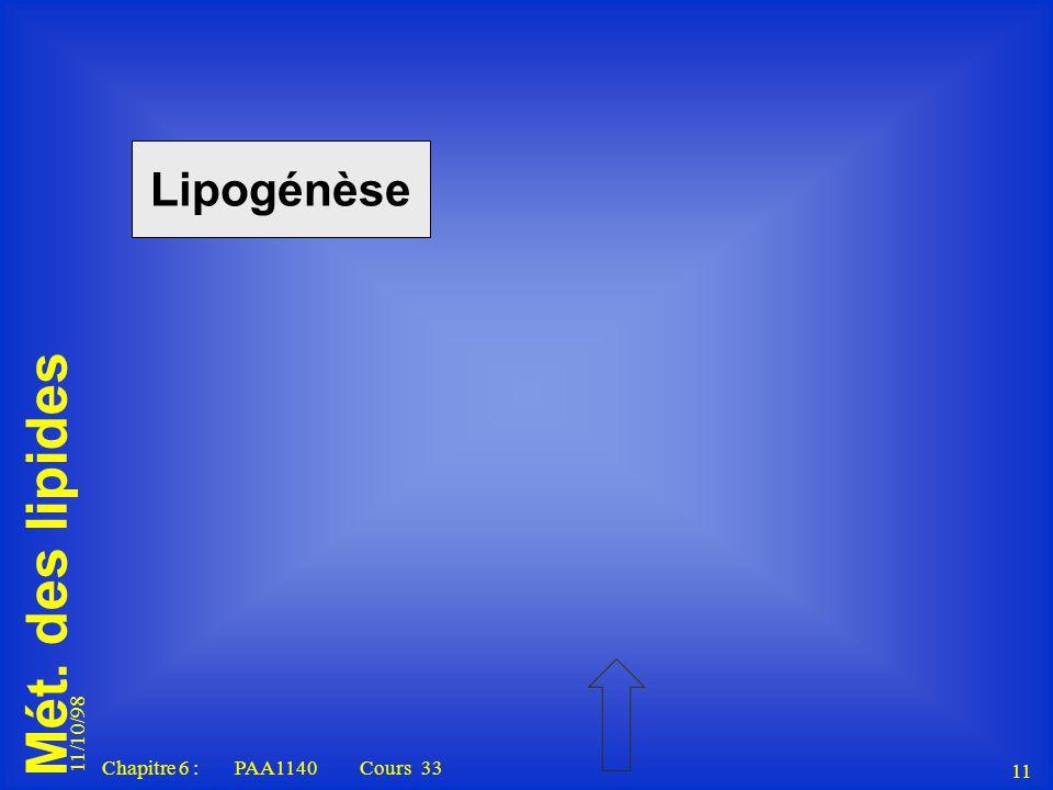 Lipogénèse 11/10/98 Chapitre 6 : PAA1140 Cours 33 11 11