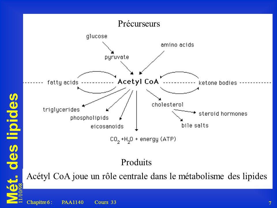 Acétyl CoA joue un rôle centrale dans le métabolisme des lipides