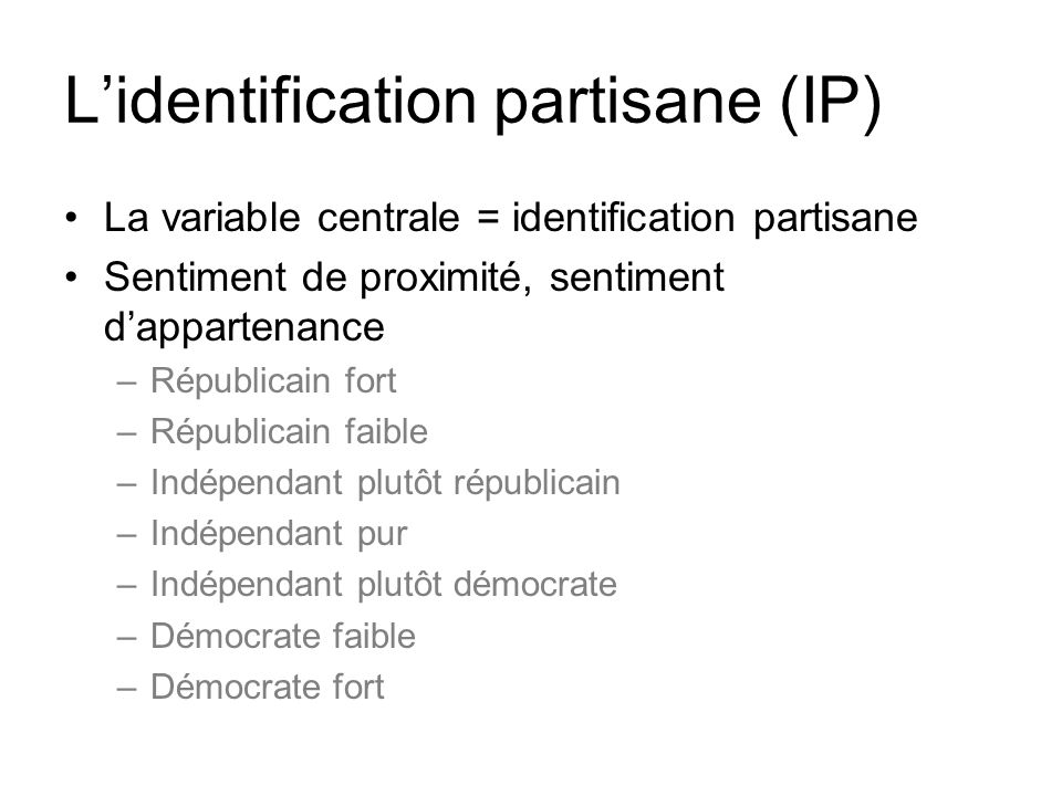 L'identification partisane (IP)