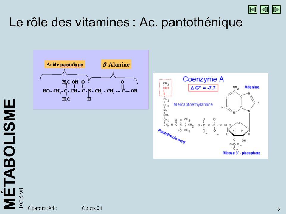 Le rôle des vitamines : Ac. pantothénique