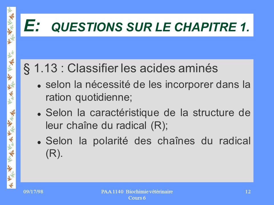 E: QUESTIONS SUR LE CHAPITRE 1.