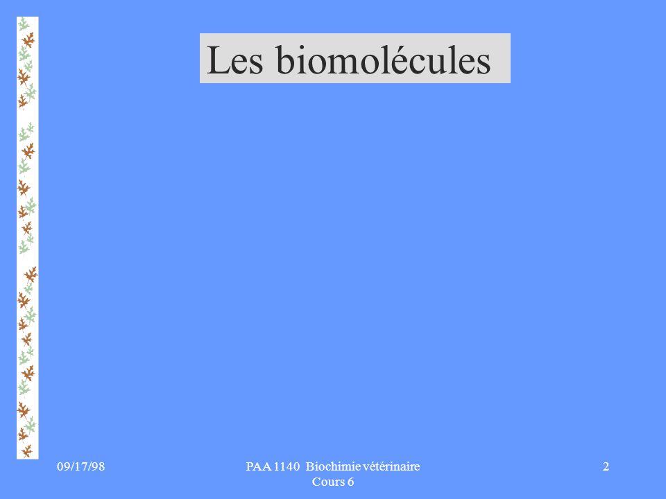 PAA 1140 Biochimie vétérinaire Cours 6