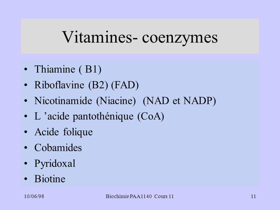 Vitamines- coenzymes Thiamine ( B1) Riboflavine (B2) (FAD)
