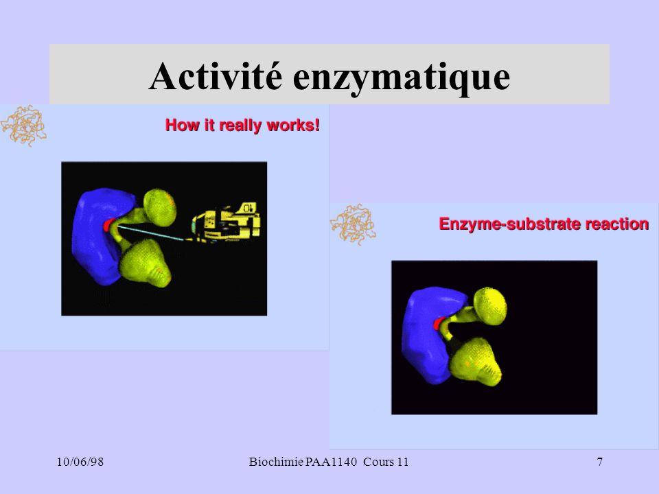 Activité enzymatique 10/06/98 Biochimie PAA1140 Cours 11 7