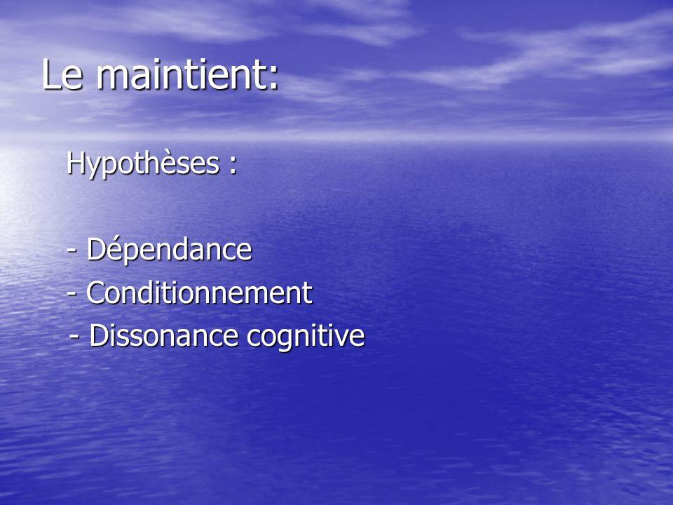 Le maintient: Hypothèses : - Dépendance - Conditionnement