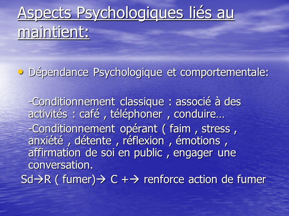 Aspects Psychologiques liés au maintient: