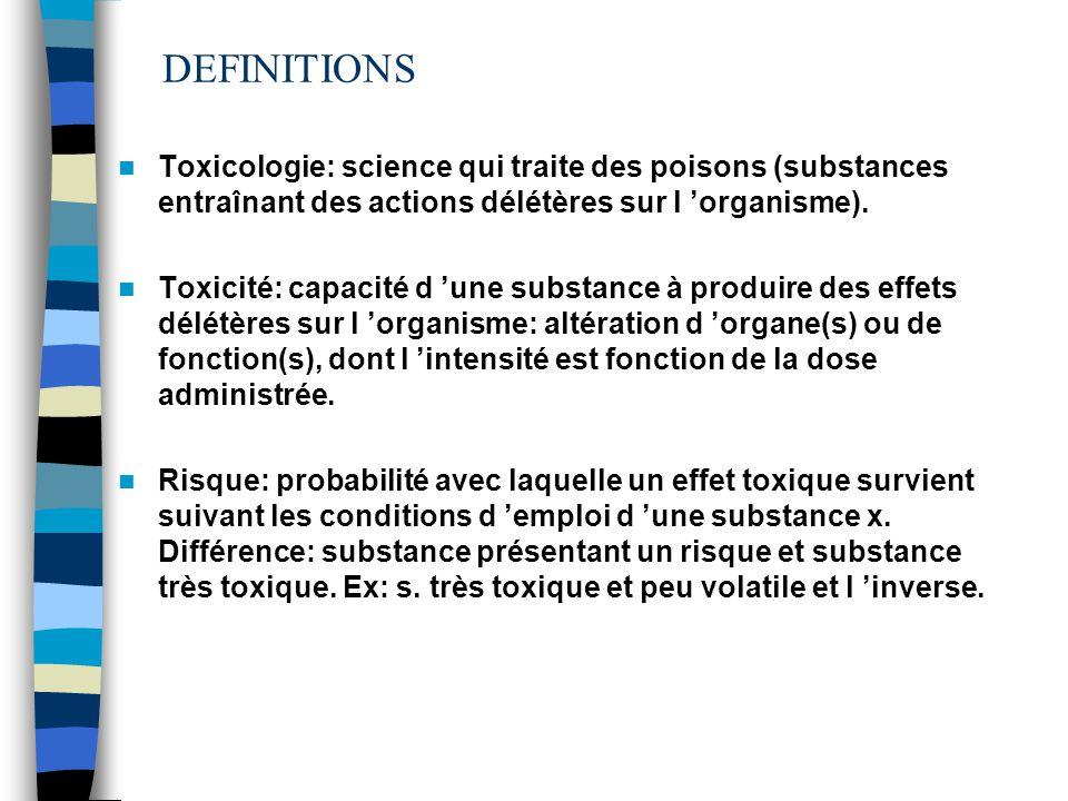 DEFINITIONS 01/04/2017. Toxicologie: science qui traite des poisons (substances entraînant des actions délétères sur l 'organisme).