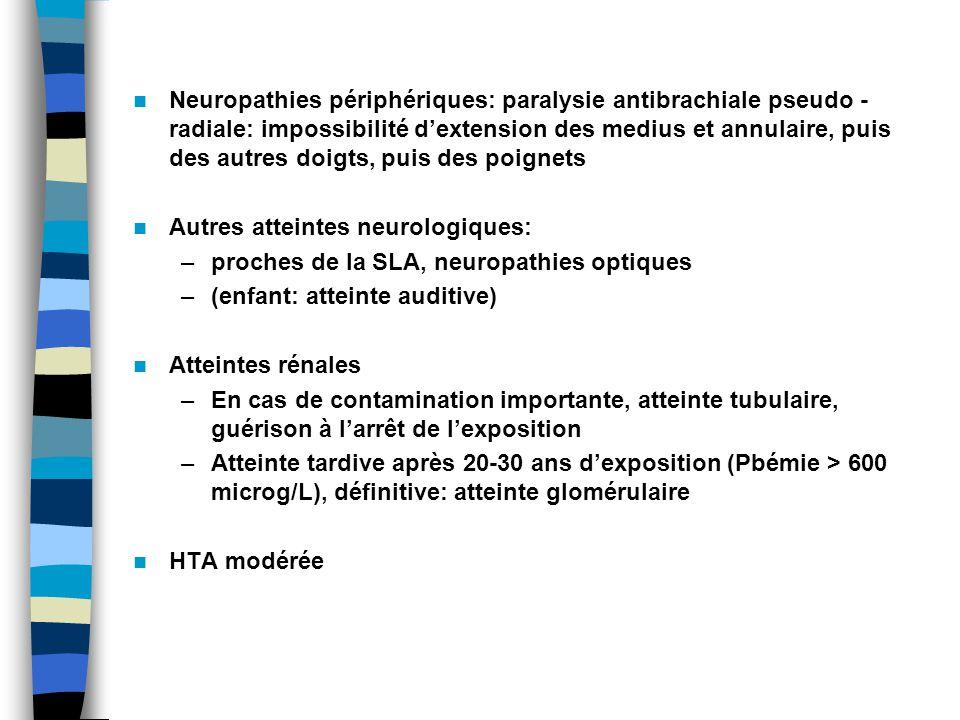 Neuropathies périphériques: paralysie antibrachiale pseudo - radiale: impossibilité d'extension des medius et annulaire, puis des autres doigts, puis des poignets