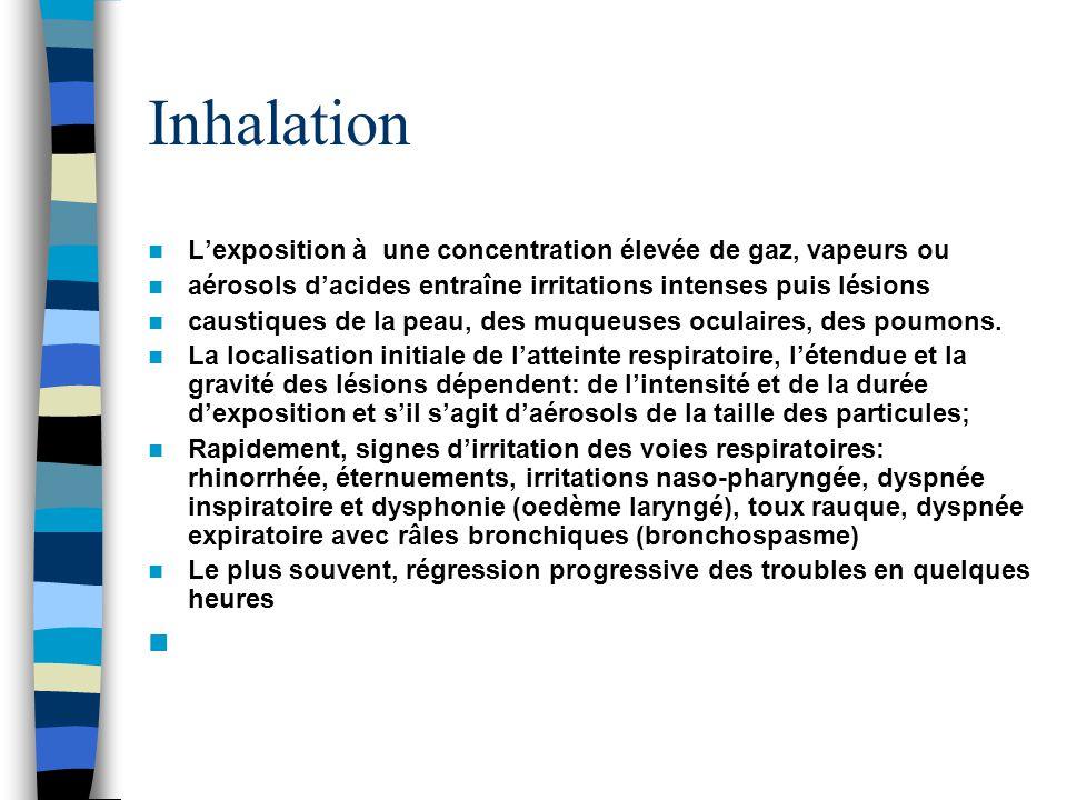 Inhalation L'exposition à une concentration élevée de gaz, vapeurs ou