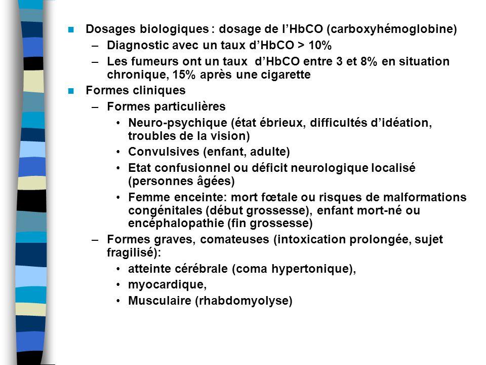 Dosages biologiques : dosage de l'HbCO (carboxyhémoglobine)
