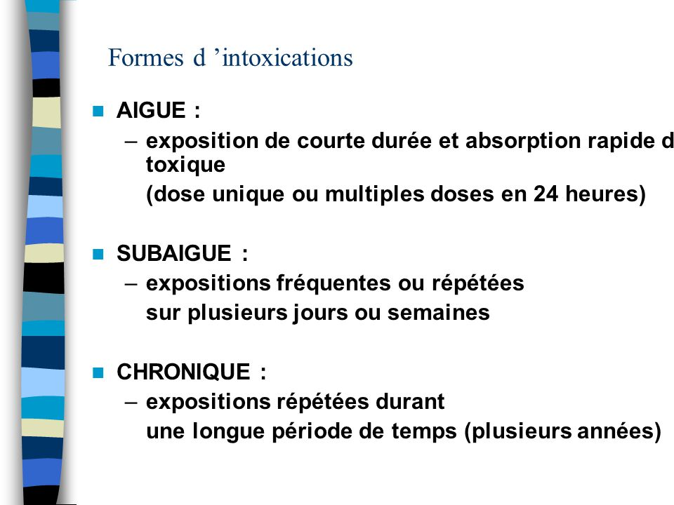 Formes d 'intoxications