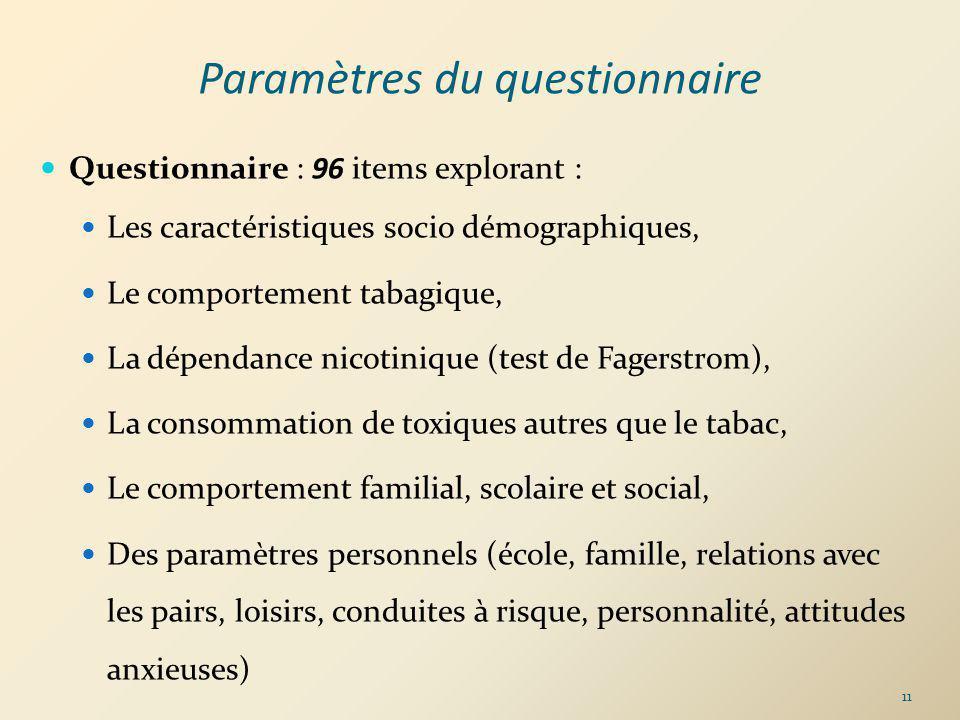 Paramètres du questionnaire