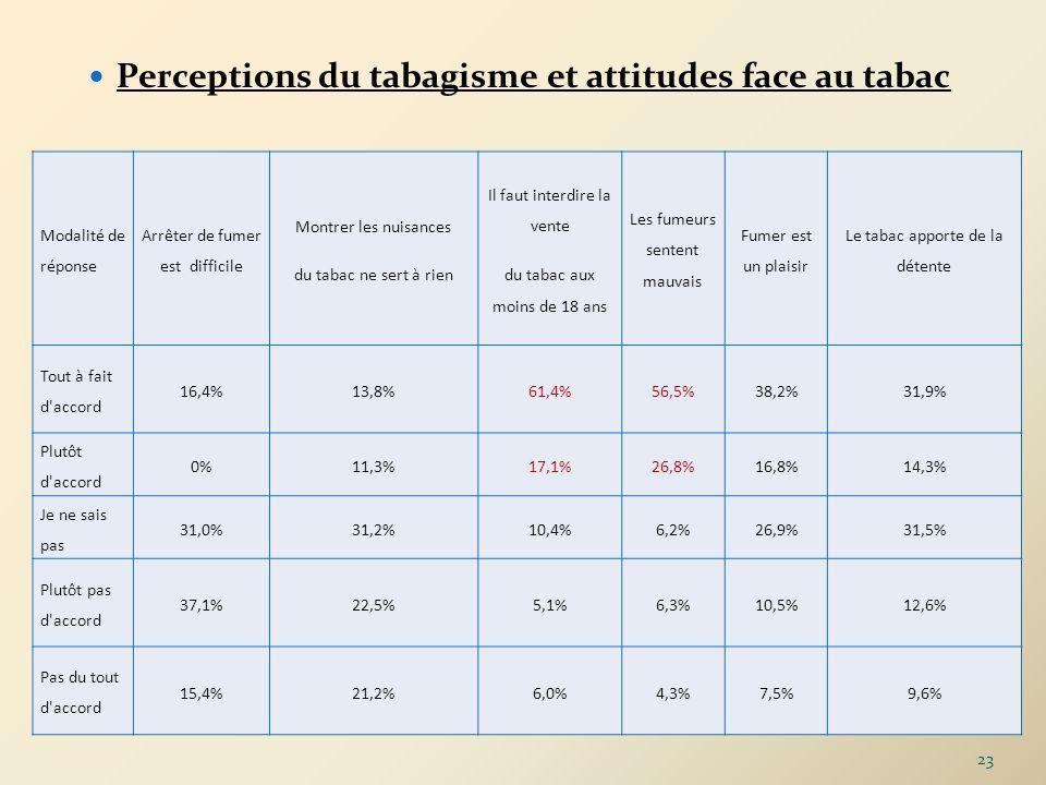 Perceptions du tabagisme et attitudes face au tabac