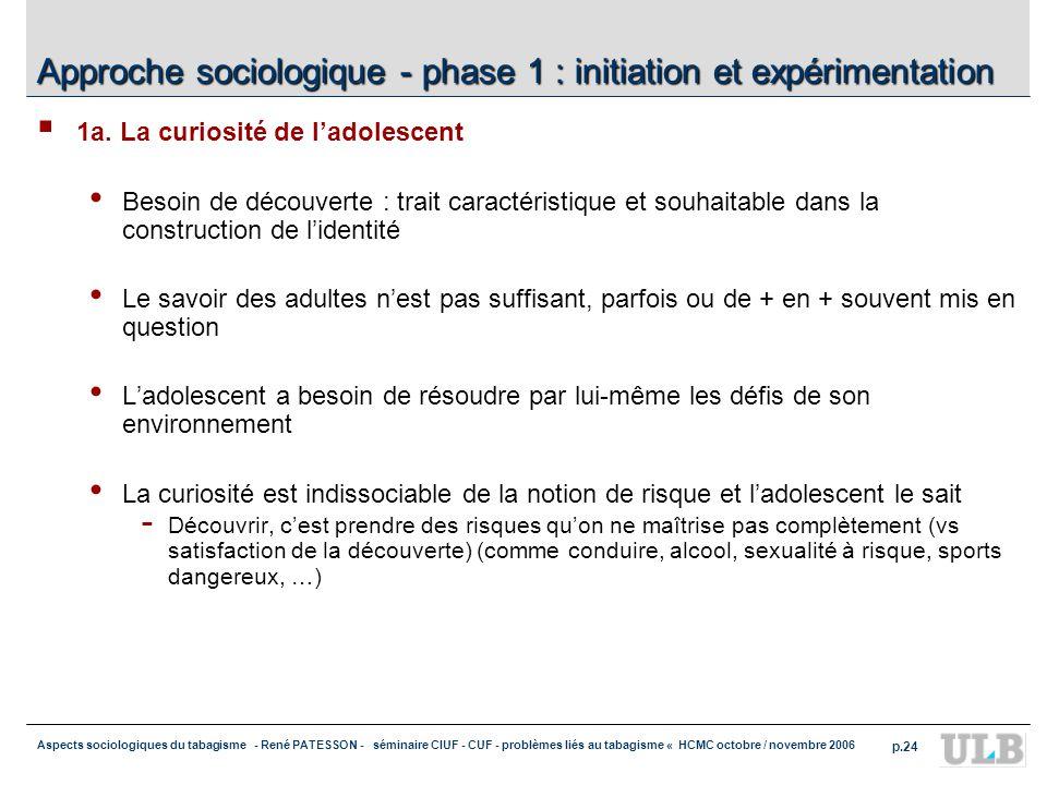 Approche sociologique - phase 1 : initiation et expérimentation