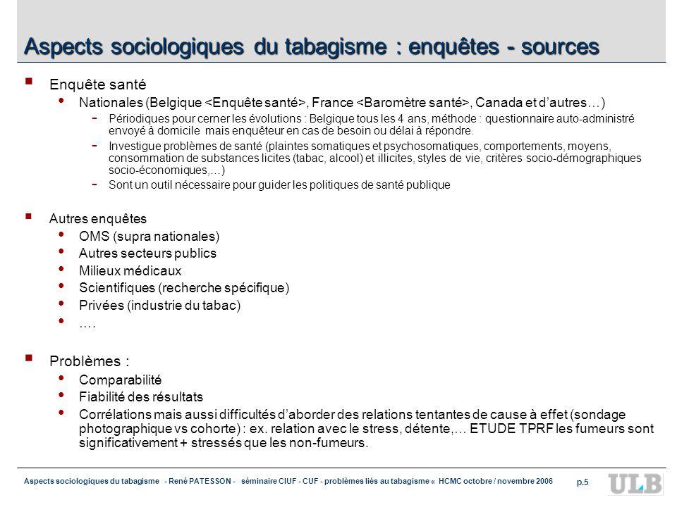 Aspects sociologiques du tabagisme : enquêtes - sources