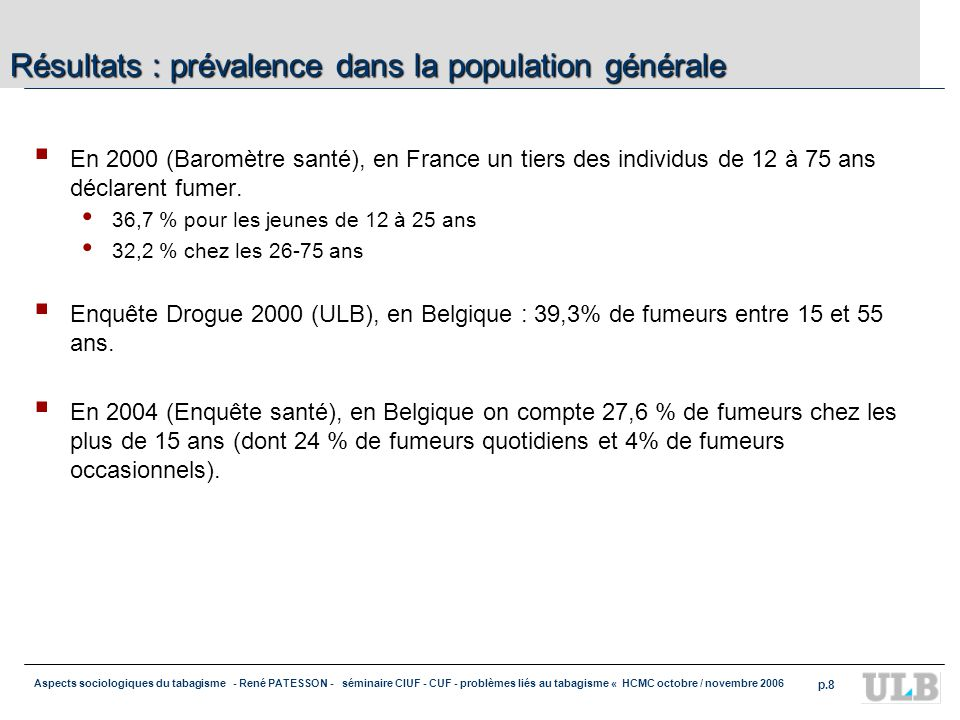 Résultats : prévalence dans la population générale