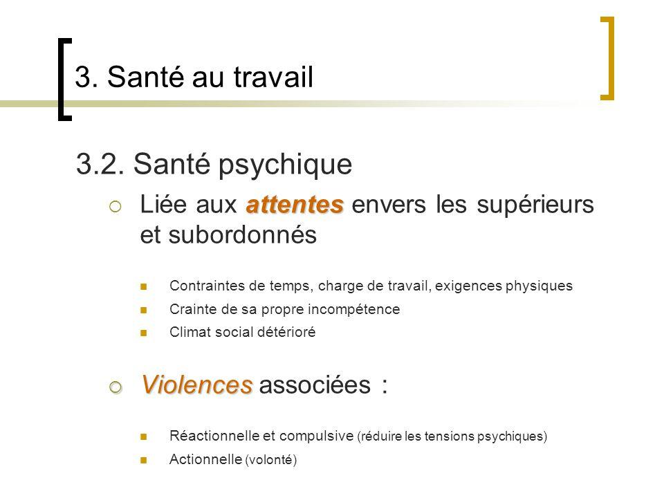3. Santé au travail 3.2. Santé psychique