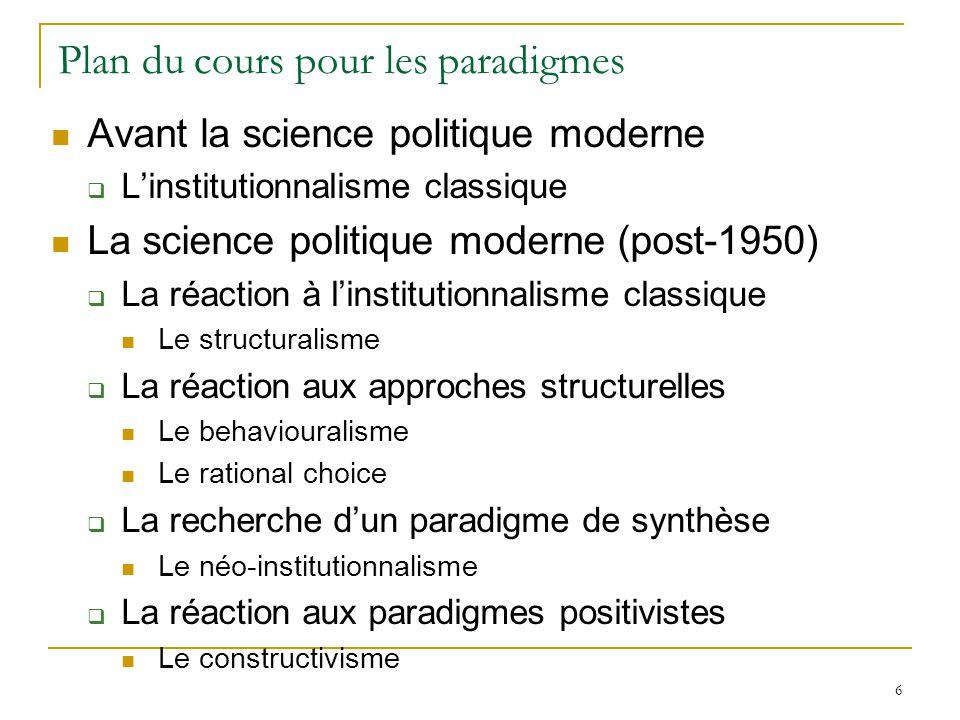 Plan du cours pour les paradigmes