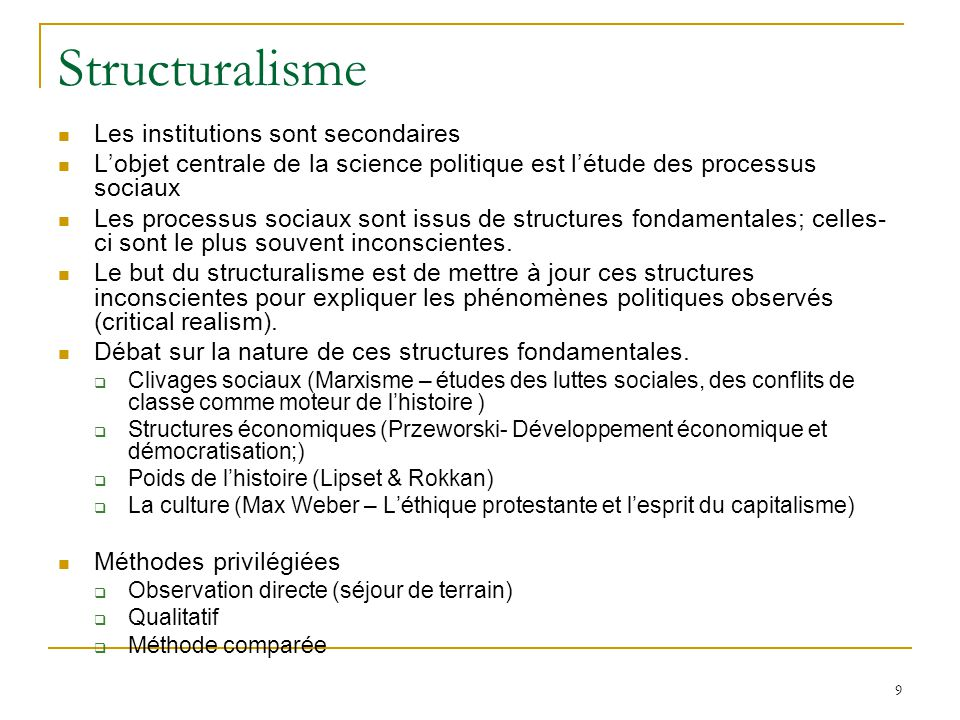 Structuralisme Les institutions sont secondaires