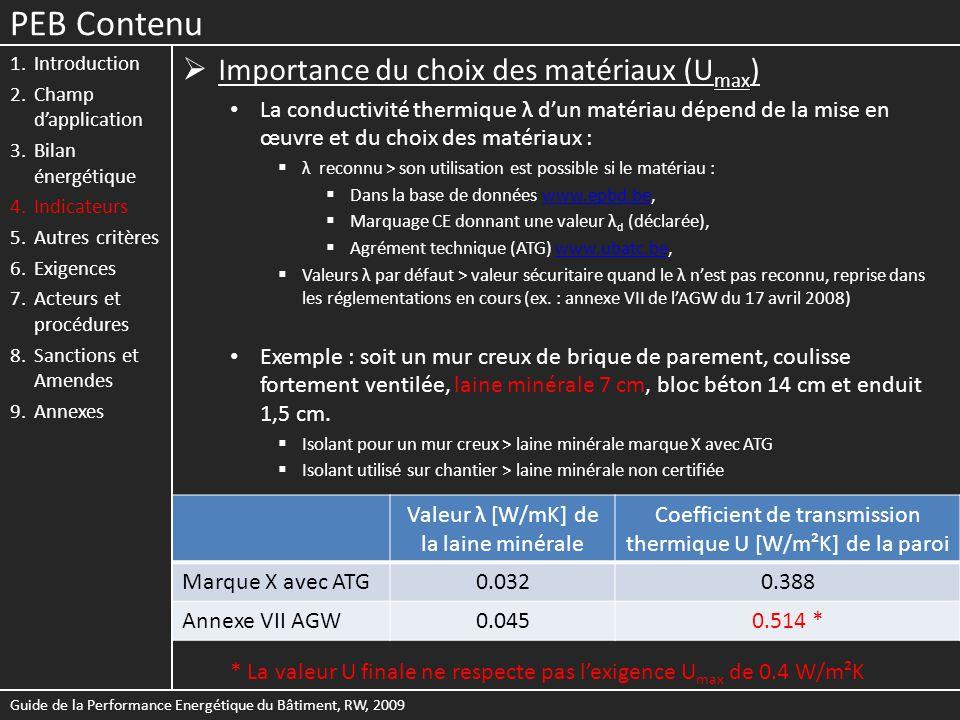 PEB Contenu Importance du choix des matériaux (Umax)