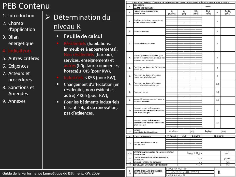 PEB Contenu Détermination du niveau K Feuille de calcul Introduction