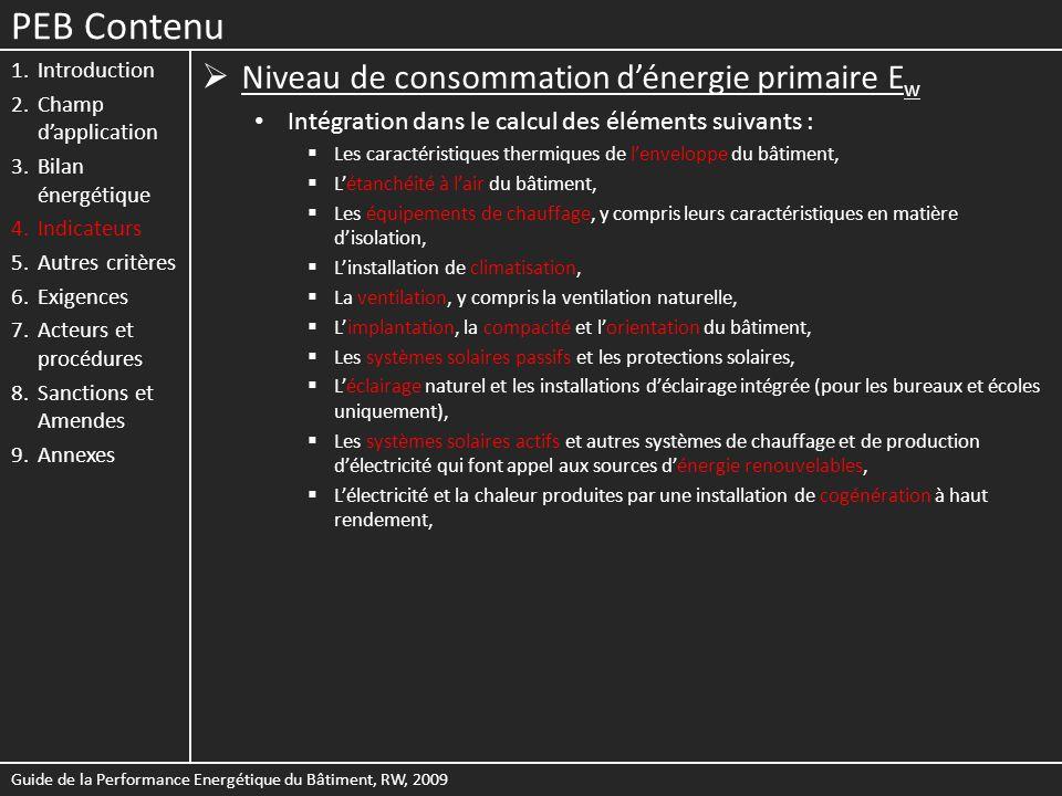 PEB Contenu Niveau de consommation d'énergie primaire Ew