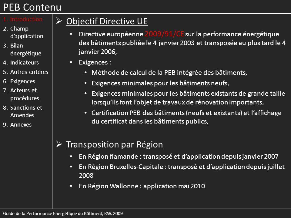 PEB Contenu Objectif Directive UE Transposition par Région