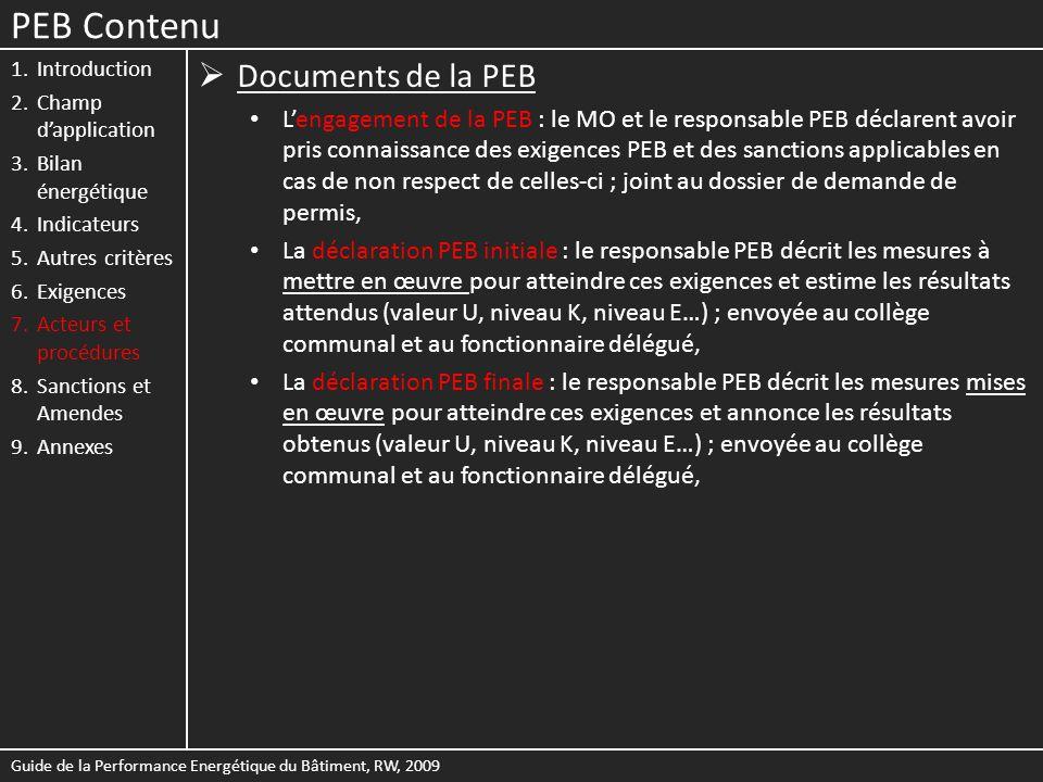 PEB Contenu Documents de la PEB
