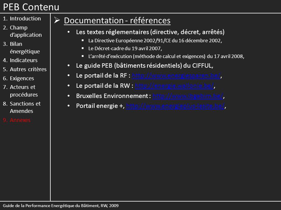 PEB Contenu Documentation - références