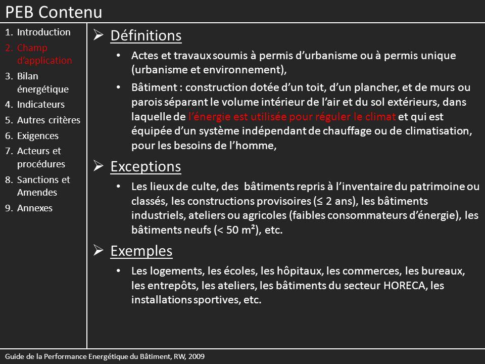 PEB Contenu Définitions Exceptions Exemples