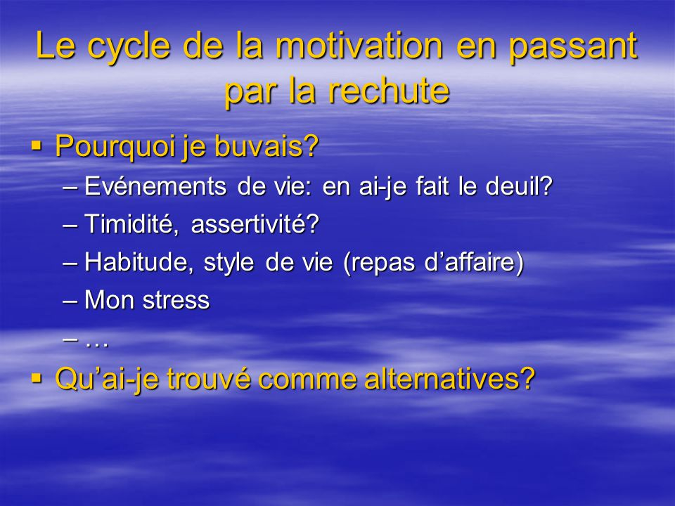 Le cycle de la motivation en passant par la rechute