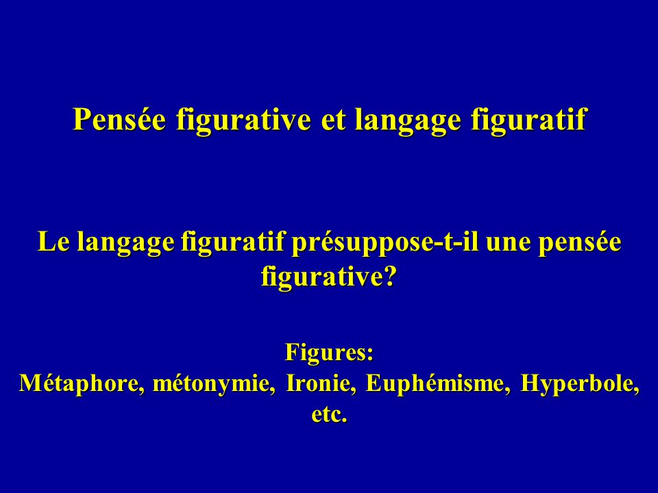 Pensée figurative et langage figuratif