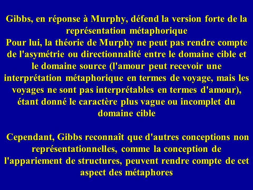 Gibbs, en réponse à Murphy, défend la version forte de la représentation métaphorique Pour lui, la théorie de Murphy ne peut pas rendre compte de l asymétrie ou directionnalité entre le domaine cible et le domaine source (l amour peut recevoir une interprétation métaphorique en termes de voyage, mais les voyages ne sont pas interprétables en termes d amour), étant donné le caractère plus vague ou incomplet du domaine cible Cependant, Gibbs reconnaît que d autres conceptions non représentationnelles, comme la conception de l appariement de structures, peuvent rendre compte de cet aspect des métaphores
