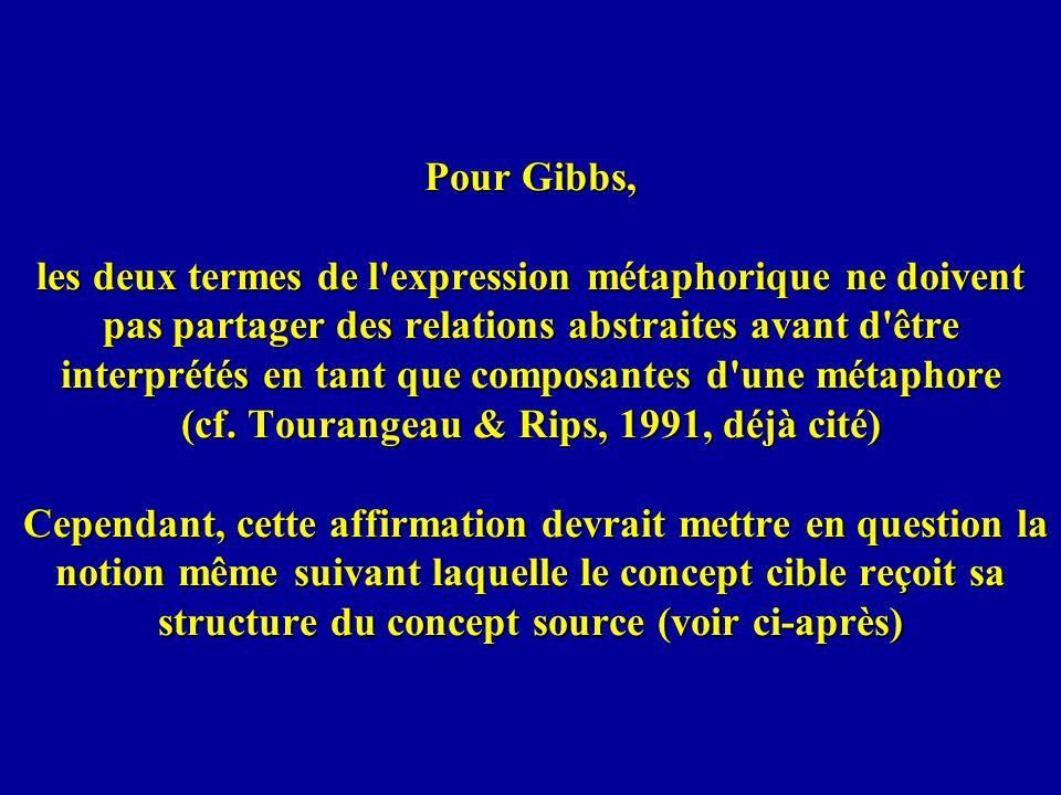 Pour Gibbs, les deux termes de l expression métaphorique ne doivent pas partager des relations abstraites avant d être interprétés en tant que composantes d une métaphore (cf.
