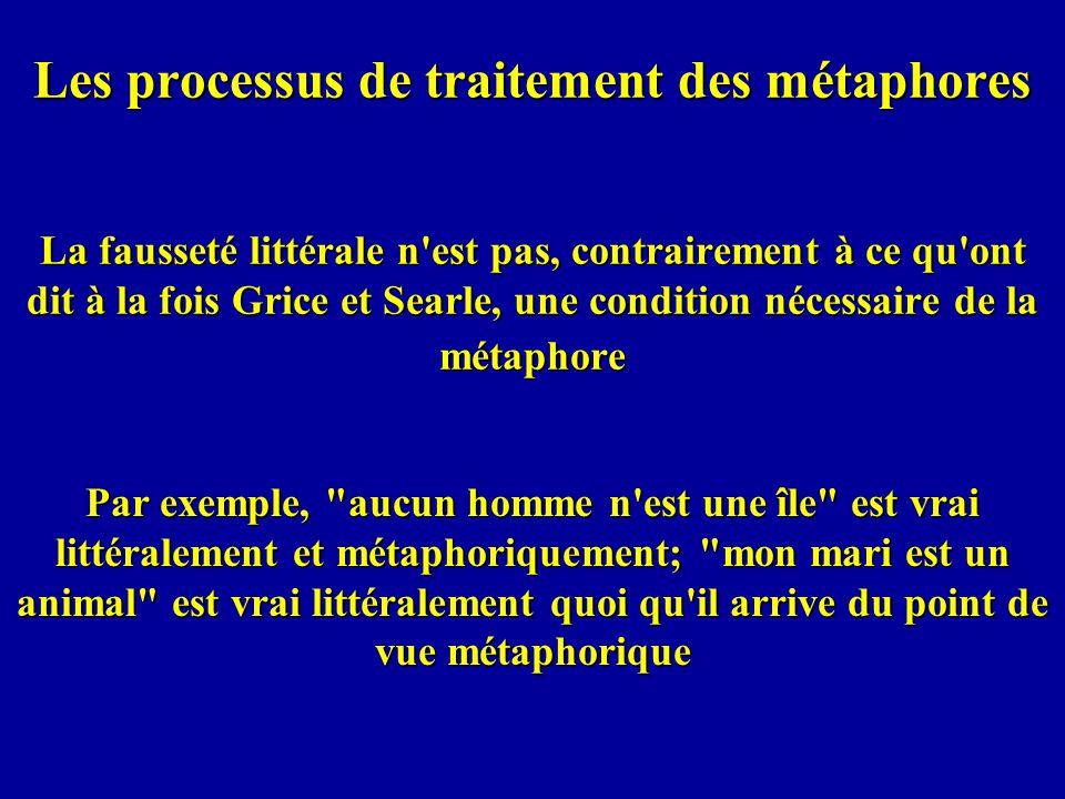Les processus de traitement des métaphores La fausseté littérale n est pas, contrairement à ce qu ont dit à la fois Grice et Searle, une condition nécessaire de la métaphore