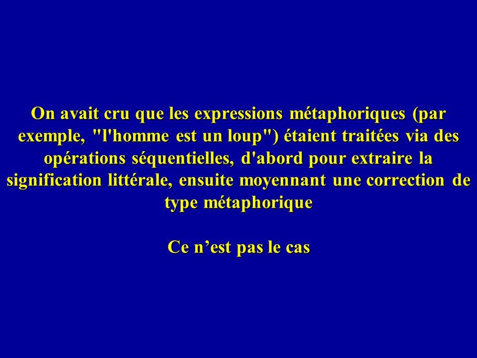 On avait cru que les expressions métaphoriques (par exemple, l homme est un loup ) étaient traitées via des opérations séquentielles, d abord pour extraire la signification littérale, ensuite moyennant une correction de type métaphorique Ce n'est pas le cas